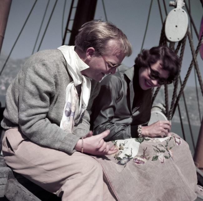 Robert Capa (1913 - 1954) 'Truman Capote and Jennifer Jones on the set of Beat the Devil, Ravello, Italy' April 1953