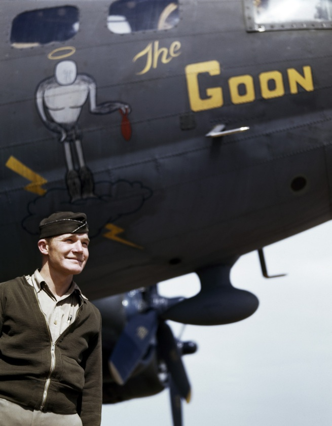 "Robert Capa (1913 - 1954) 'American Captain Jay F. Shelley stands in front of ""The Goon,"" a B-17 bomber, before a raid over Italy, Tunisia, 1943' 1943"