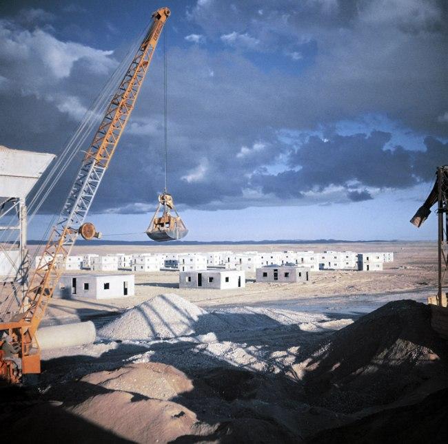 Robert Capa (1913 - 1954) 'Construction of the new settlements for workers, Neguev Desert, outside Be'er Sheva, Israel' 1949-1950