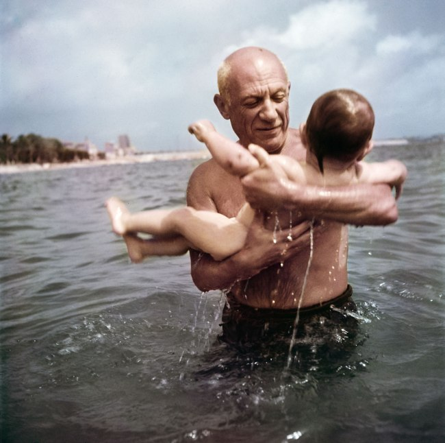 Robert Capa (1913 - 1954) 'Pablo Picasso playing in the water with his son Claude, near Vallauris, France' 1948