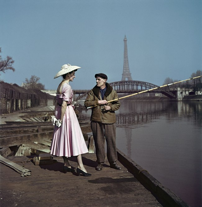 Robert Capa (1913 - 1954) 'Model wearing Dior on the banks of the Seine, Paris, France' 1948