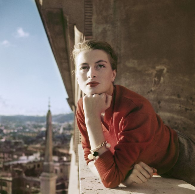 Robert Capa (1913 - 1954) 'Capucine, French model and actress, on a balcony, Rome, Italy' August 1951