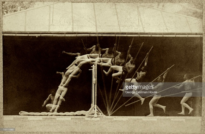 Étienne Jules Marey (French, 1830-1904) 'Chronophotographic study of man pole vaulting' c. 1890