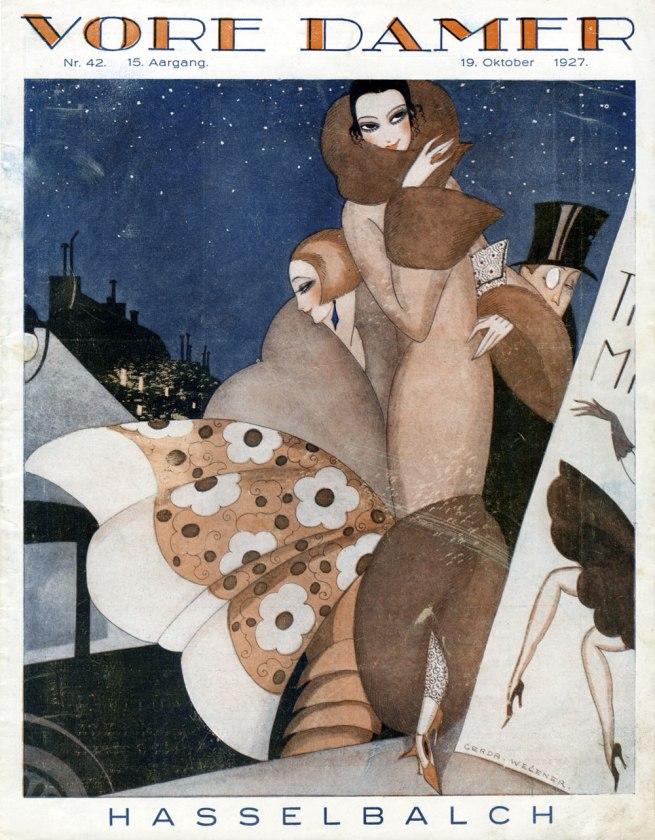 Front page illustration by Gerda Wegener for the Danish magazine 'Vore Damer', 19 October, 1927