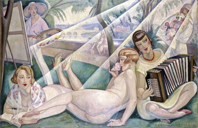 Gerda Wegener. 'A Summer Day' (Einar Wegener behind the easel, Lili nude, Elna Tegner with accordion, publisher wife Mrs. Guyot with book) 1927