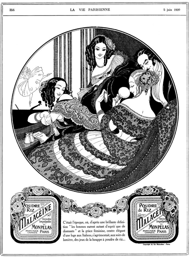 Gerda Wegener, advertisement for powder in the French magazine La Vie Parisienne, 5 June 1920