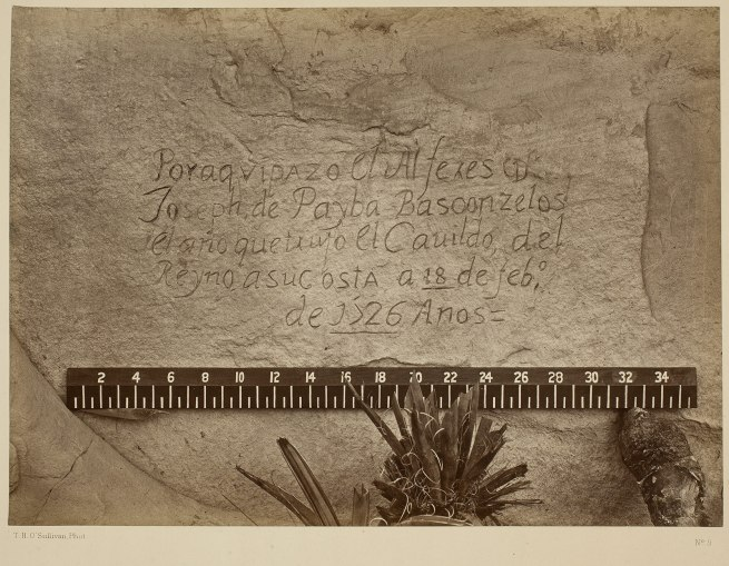 Timothy H. O'Sullivan (American, b. Ireland, 1840-1882) 'Historic Spanish Record of the Conquest, South Side of Inscription Rock' 1873