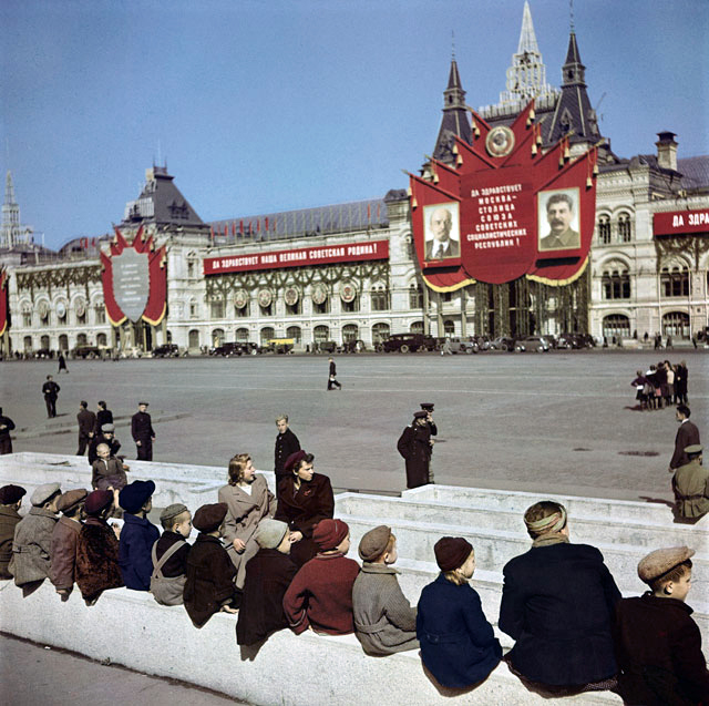 Robert Capa (1913 - 1954) 'Young visitors waiting to see Lenin's Tomb at Red Square' Moscow 1947