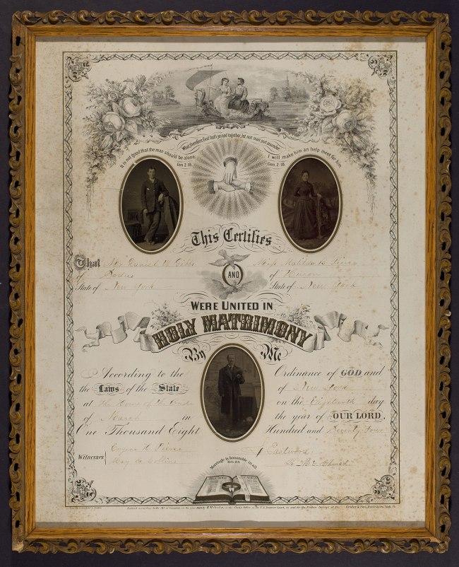 Unidentified maker. 'Certificate of Marriage between Daniel W. Gibbs and Matilda B. Pierce' c. 1874