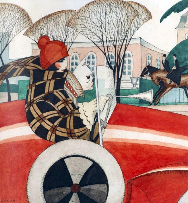 Gerda Wegener. ' Girl and pug in an Automobile' (sketch for front page illustration in Vore Damer, 1927) c. 1927