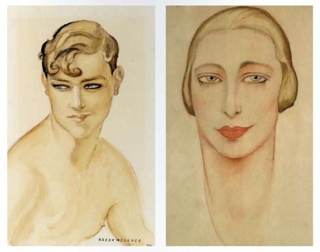 Gerda Wegener. 'Young Man, Bare Chested' 1938 and 'Adrienne Sipska' Paris 1925