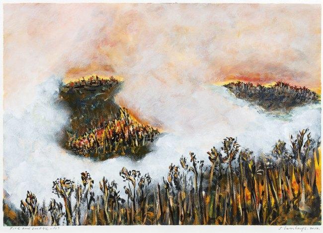 Jan Senbergs (born Latvia 1939, arrived Australia 1950) 'Fire and smoke' 1 2014