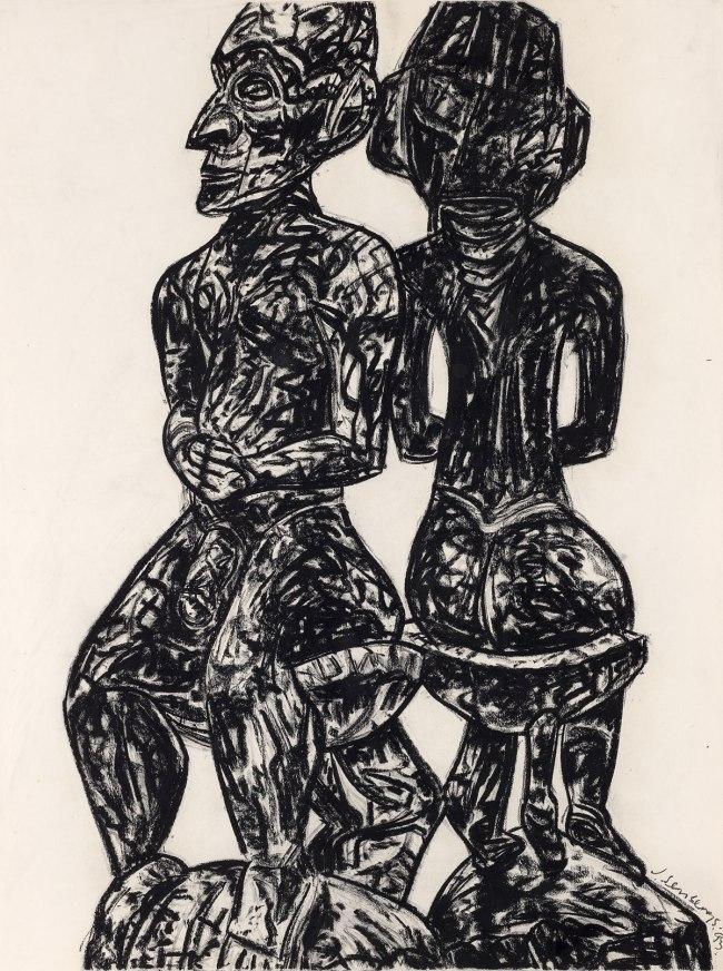 Jan Senbergs (born Latvia 1939, arrived Australia 1950) 'New Guinea male triptych' (detail) 1993
