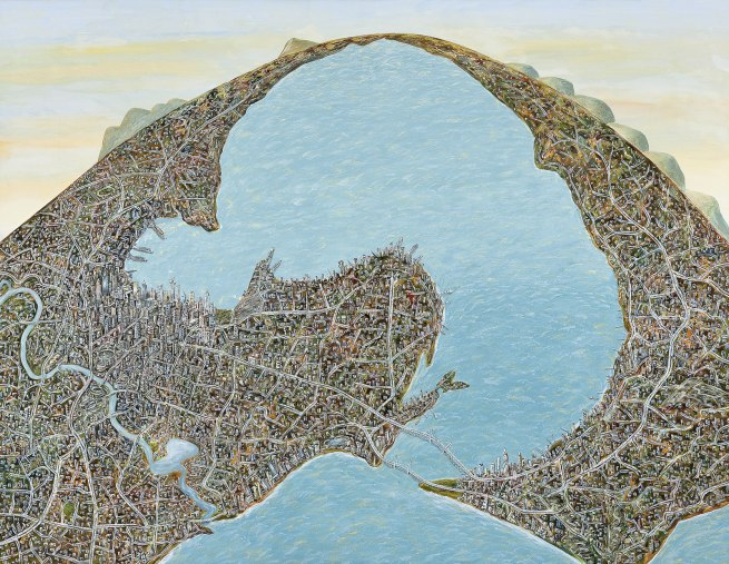 Jan Senbergs (born Latvia 1939, arrived Australia 1950) 'Geelong capriccio (if Geelong were settled instead of Melbourne)' 2010
