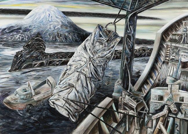 Jan Senbergs (born Latvia 1939, arrived Australia 1950) 'Bea Maddock being lifted onto the Icebird - Heard Island' 1987