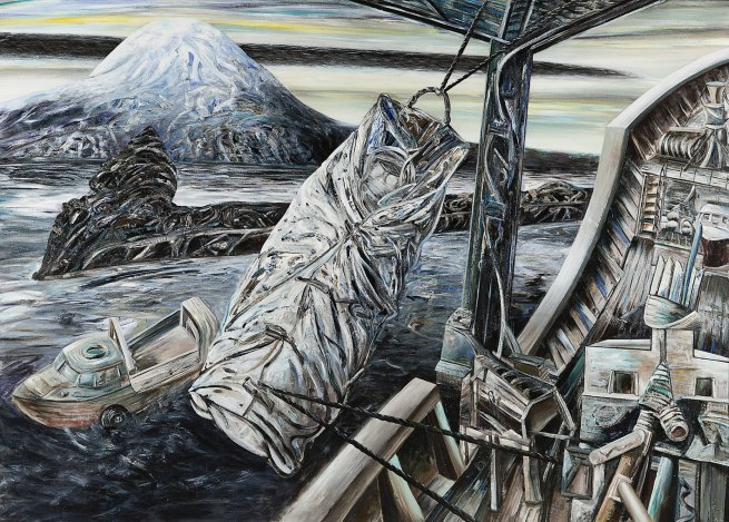 Jan Senbergs (born Latvia 1939, arrived Australia 1950) 'Bea Maddock being lifted onto the Icebird - Heard Island' 1987
