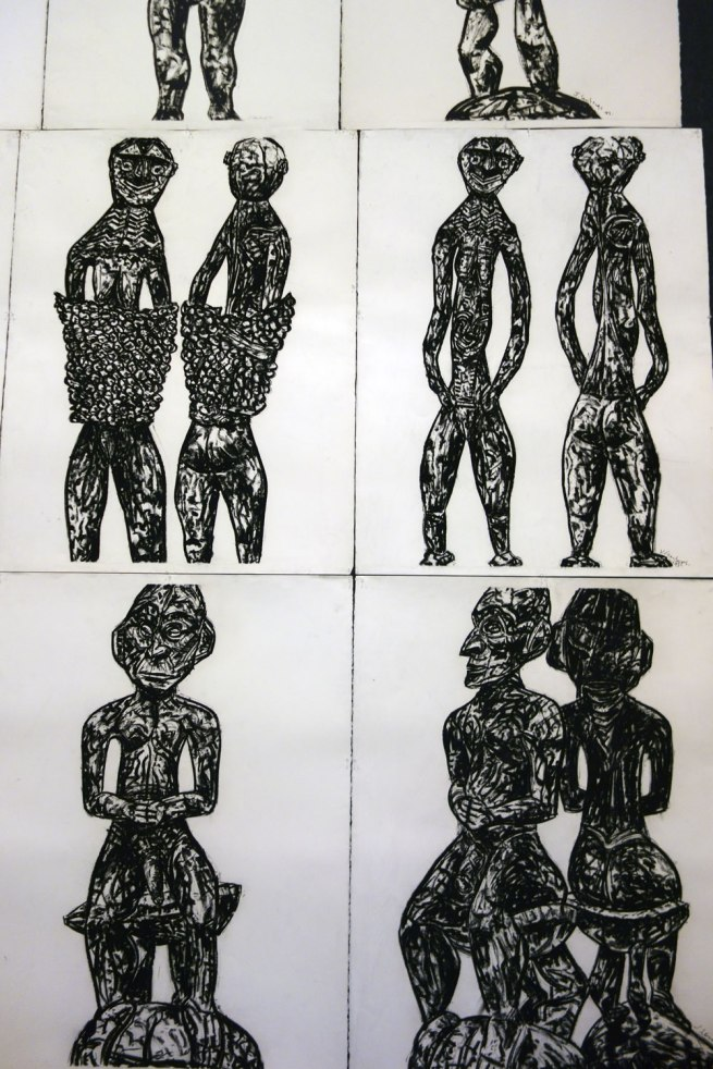 Jan Senbergs. Detail view of 'New Guinea sheilas triptych' (centre row) and 'New Guinea male triptych' (bottom row) both 1993