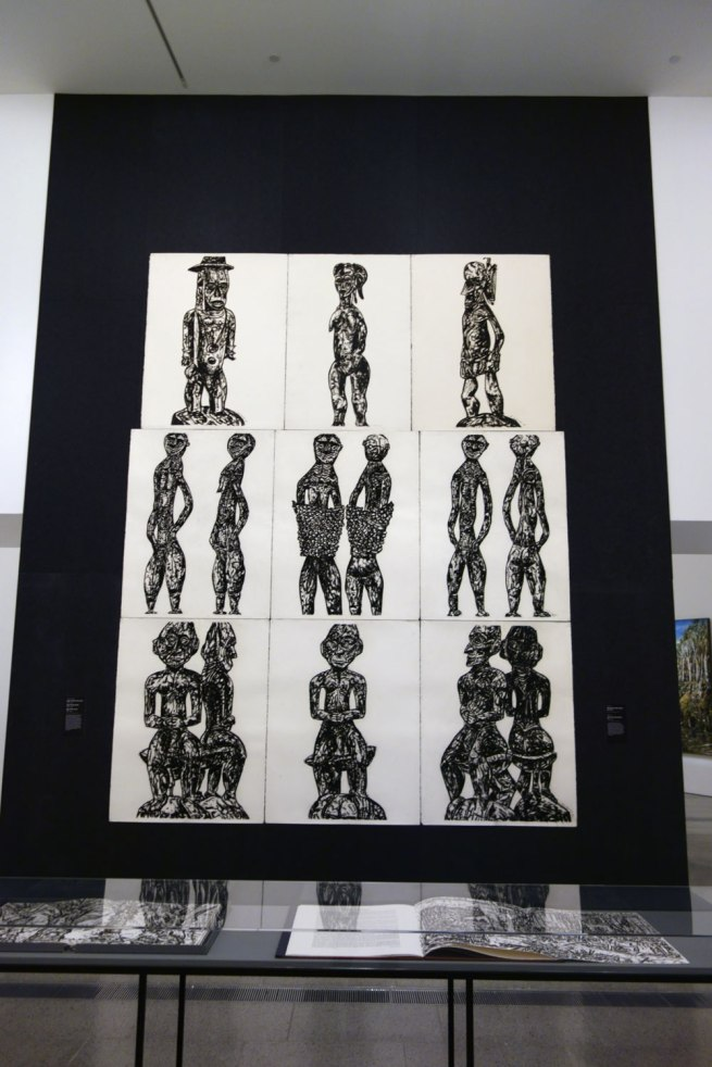 Jan Senbergs. Installation view of 'New Guinea sheilas triptych' (centre row) and 'New Guinea male triptych' (bottom row) both 1993