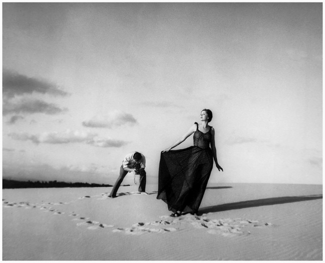 Olive Cotton (Australian, 1911 - 2003) 'Fashion shot, Cronulla sandhills (Max Dupain photographing model)' 1937