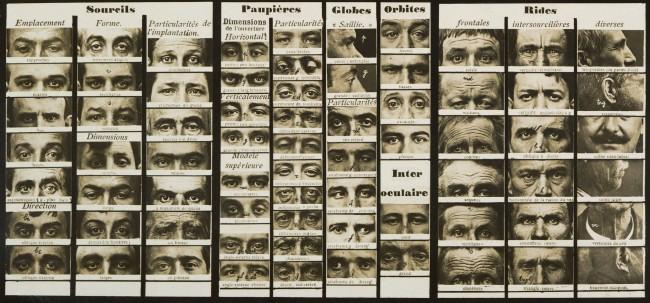 """Alphonse Bertillon (French, 1853 - 1914) Tableau synoptic des traits physionomiques: pour servir a l'étude du """"portrait parlé"""" c. 1909 (detail)"""
