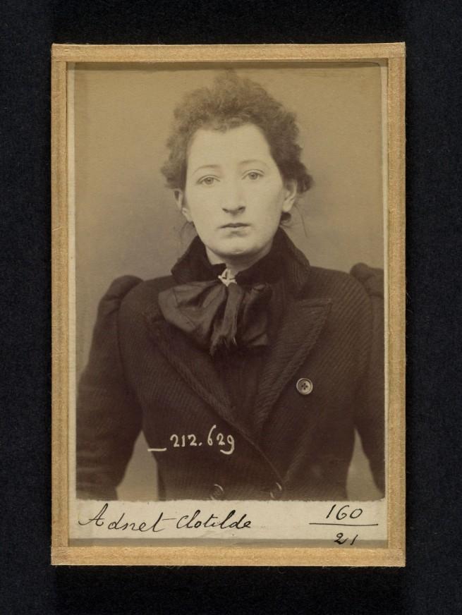 Alphonse Bertillon (French, 1853 - 1914) 'Adnet. Clotilde. 19 ans, née en décembre 74 à Argentant (Orne). Brodeuse. Anarchiste. Fichée le 7/1/94' 1894
