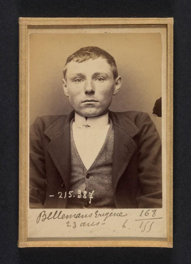 Alphonse Bertillon (French, 1853 - 1914) 'Bellemans. Eugène (ou Michel). 23 ans, né à Gand (Belgique). Tailleur d'habits. Anarchiste. 9/3/94' 1894