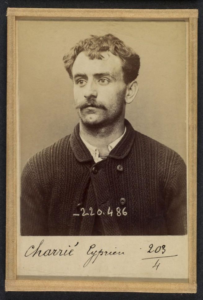 Alphonse Bertillon (French, 1853 - 1914) 'CharriŽ. Cyprien. 26 ans, nŽ le 7/10/67 ˆ Paris XVIlle. Imprimeur. Anarchiste 2/7/94' 1894