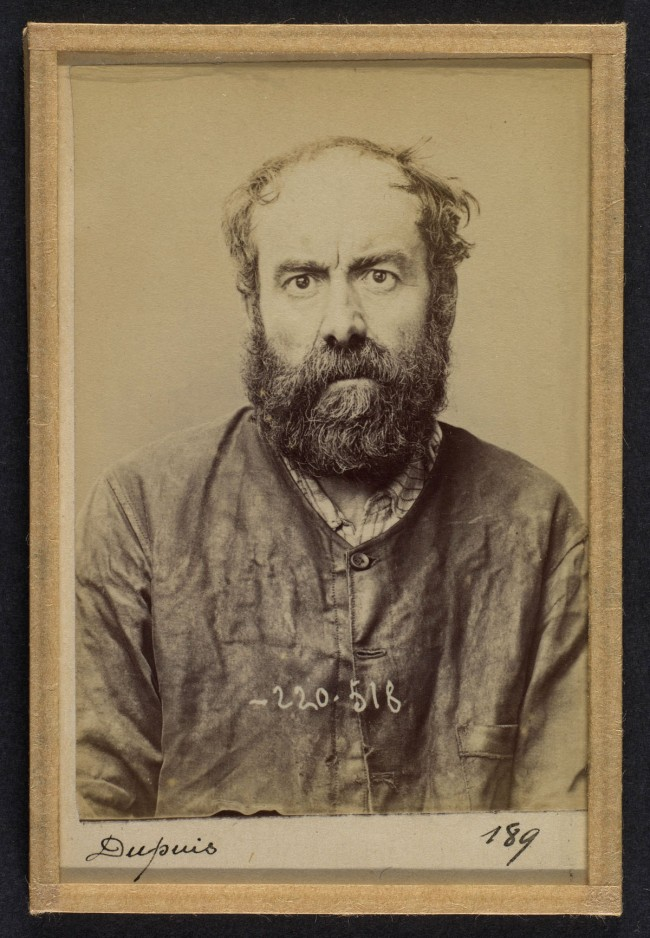 Alphonse Bertillon (French, 1853 - 1914) 'Dupuis. Augustin. 53 ans, nŽ le 24/6/41 ˆ Dourdan (Seine &Oise). Charron, forgeron. Anarchiste. 3/7/94' 1894