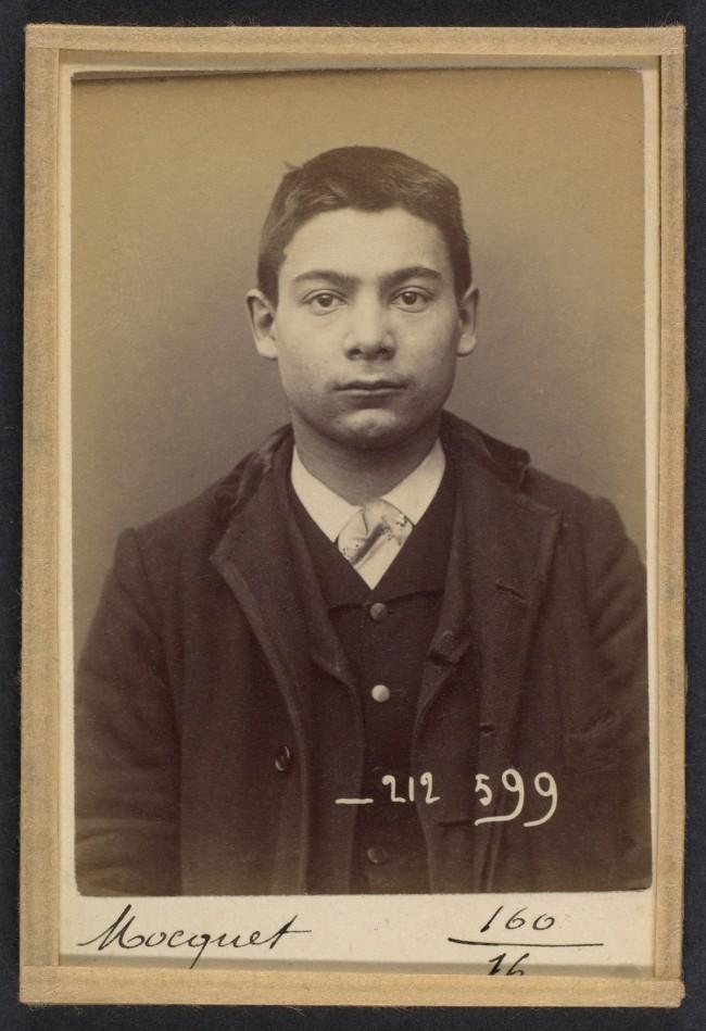 Alphonse Bertillon (French, 1853 - 1914) 'Mocquet. Georges, Gustave. 17 ans, nŽ le 17/5/76 ˆ Paris IXe. Tapissier. Anarchiste. 6/1/94' 1894