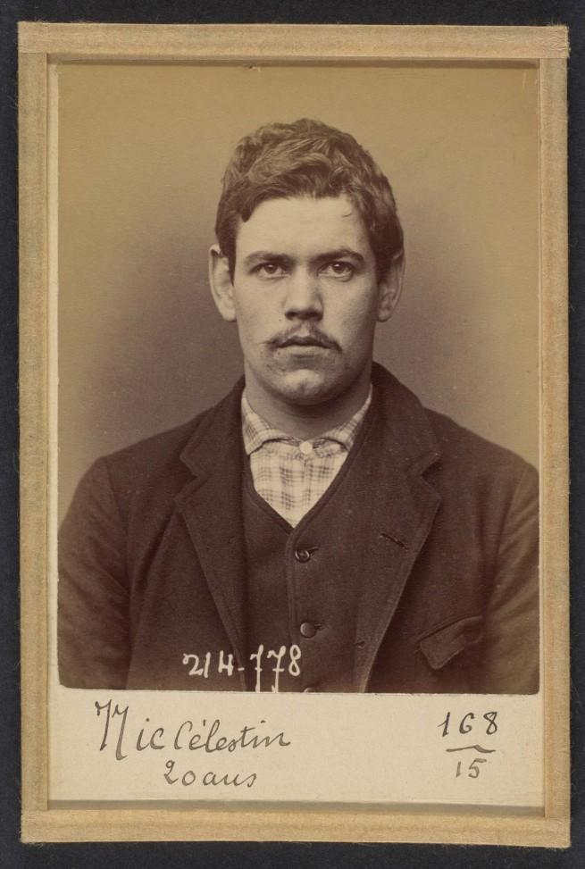 Alphonse Bertillon (French, 1853 - 1914) 'Nic. Celestin. 20 ans, nŽ ˆ Conflans-St-Honorine (Seine & Oise). Emballeur. 26/2/94' 1894