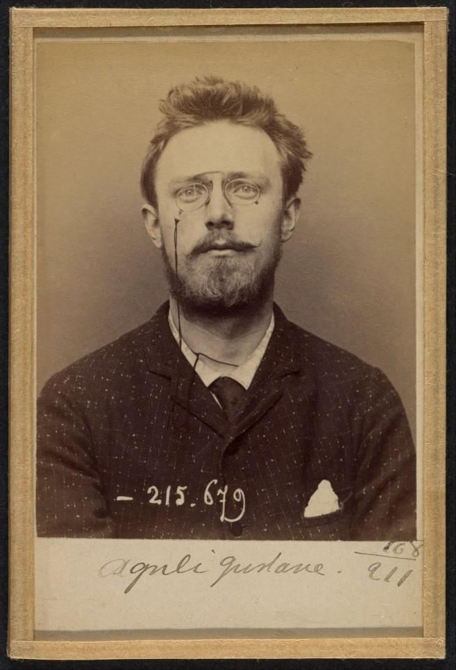Alphonse Bertillon (French, 1853 - 1914) 'Olguéni Gustave. 24 ans, né à Sala (Suède) le 24-5-69. Artiste-peintre. Anarchiste. 14-3-94' 1894