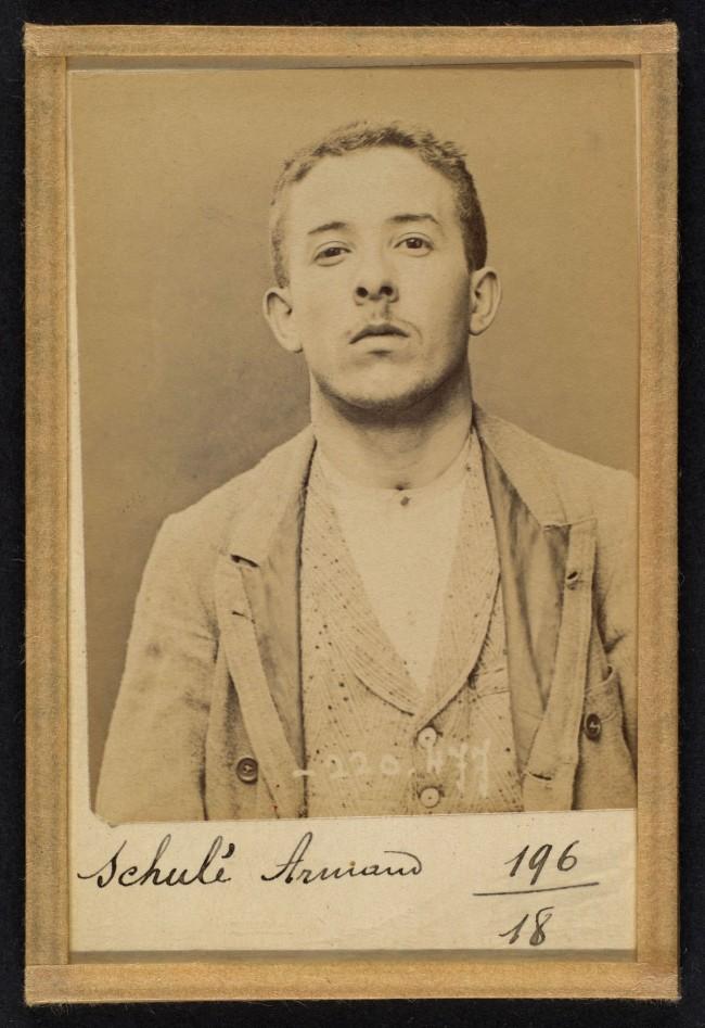 Alphonse Bertillon (French, 1853 - 1914) 'SchulŽ. Armand. 21 ans, nŽ le 28/2/73 ˆ Choisy-le-Roi. Comptable. Anarchiste. 2/7/94' 1894
