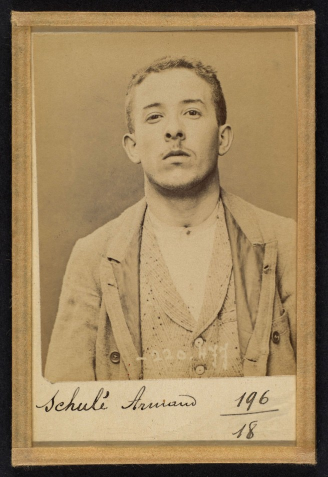 Alphonse Bertillon (French, 1853 - 1914) 'SchulŽ. Armand. 21 ans, nŽ le 28/2/73 ˆ Choisy-le-Roi. Comptable. Anarchiste. 2/7/94' 1894