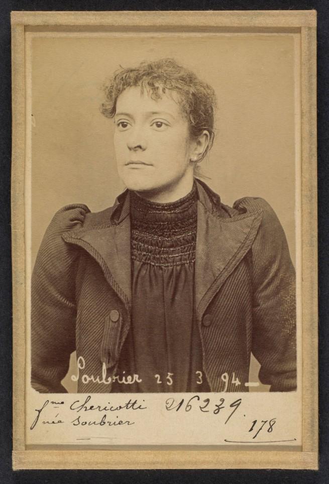 Alphonse Bertillon (French, 1853 - 1914) 'Soubrier. Annette (femme Chericotti). 28 ans, nŽe ˆ Paris Ille. Coutire. Anarchiste. 25/3/94' 1894