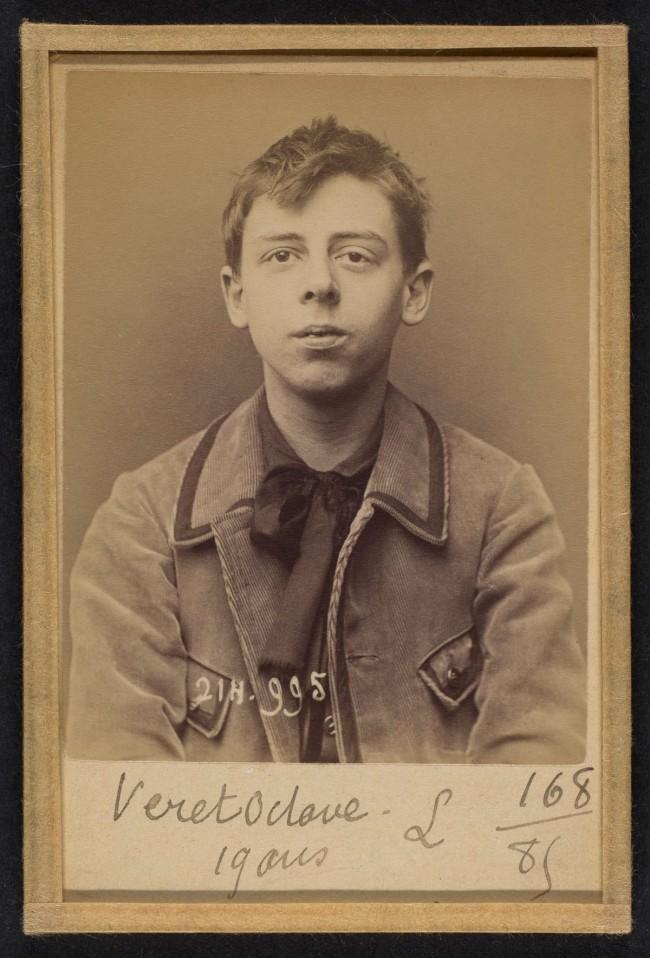 Alphonse Bertillon (French, 1853 - 1914) 'Véret. 0ctave-Jean. 19 ans, né à Paris XXe. Photographe. Anarchiste. 2/3/94.' 1894