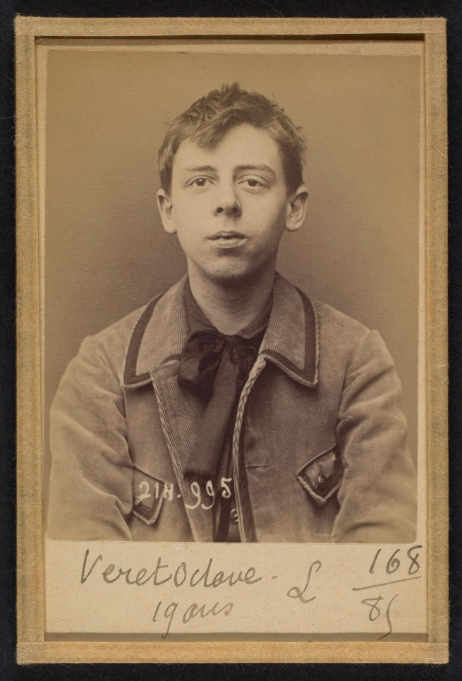 Alphonse Bertillon (French, 1853 - 1914) 'Véret. 0ctave-Jean. 19 ans, né à Paris XXe. Photographe. Anarchiste. 2/3/94.' 1894