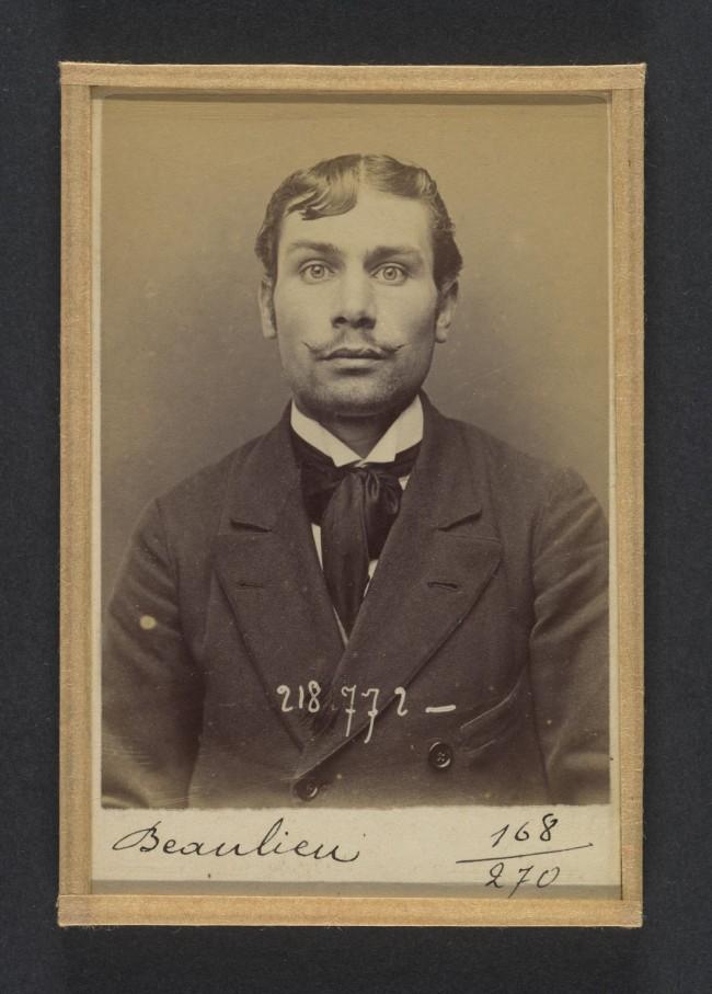 Alphonse Bertillon (French, 1853 - 1914) 'Beaulieu. Henri, Félix, Camille. 23 ans, né le 30/11/70 à Paris Ve. Comptable. Anarchiste. 23/5/94.' 1894