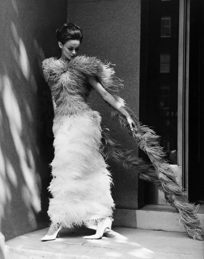 Henry Talbot (Germany 1920 - Australia 1999, Australia from 1940) 'No title (Fashion illustration model wearing long feather dress)' 1961-66