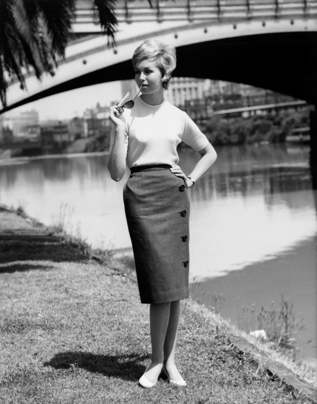 Henry Talbot (Germany 1920 - Australia 1999, Australia from 1940) 'No title (Fashion illustration for Sportscraft on location Yarra River near Princes Bridge)' 1961