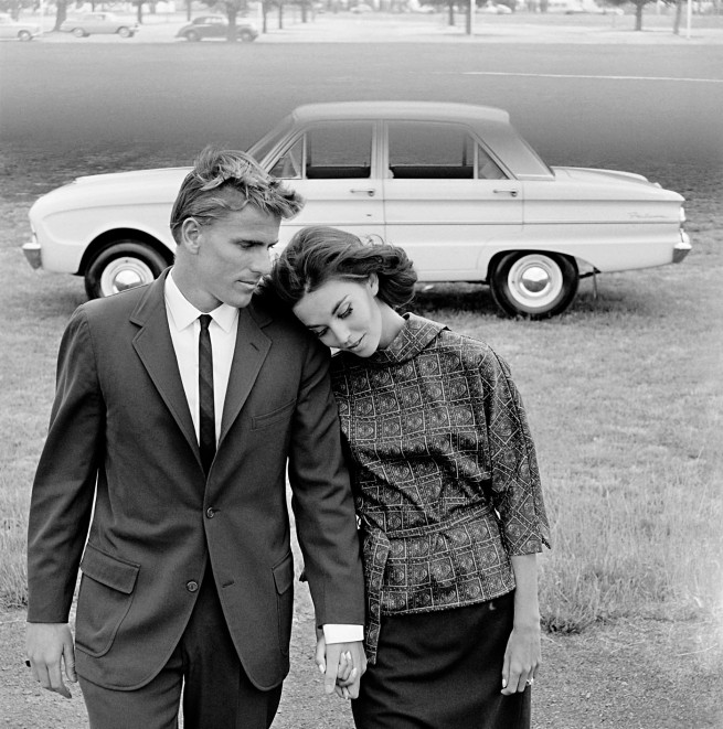 Henry Talbot (Germany 1920 - Australia 1999, Australia from 1940) 'No title (Fashion illustration for Pelaco shirts and Ford Falcon, models Margot McKendry and Murray Rose)' 1963, printed 2016