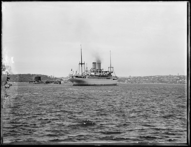 Anonymous. 'SS Nieuw Holland passing Fort Denison, Sydney Harbour' c. 1930