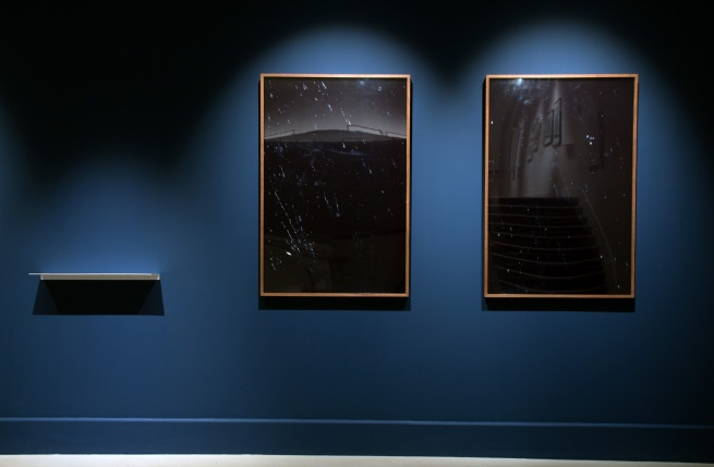 "Installation view of Joan Fontcuberta (Spain). 'MN 62: OPHIUCUS (NGC 6266), AR 17 h. 01,2 min. / D -30º 07'' (left) and 'LAMBDA CORONAE AUSTRALIS (Mags 5,1/9,7 Sepn 29,2"" AP 214º), AR 18 h 43,8 min. / D -38º 19'' (right) both 1993"