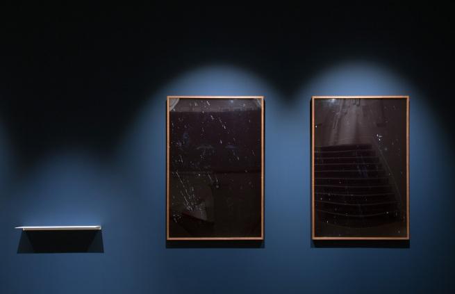 "Installation view of Joan Fontcuberta (Spain). 'MN 62: OPHIUCUS (NGC 6266), AR 17 h. 01,2 min. / D -30º 07'' (left) and 'LAMBDA CORONAE AUSTRALIS (Mags 5,1/9,7 Sepn 29,2"" AP 214º), AR 18 h 43,8 min. / D -38º 19'' (right) both 1993"