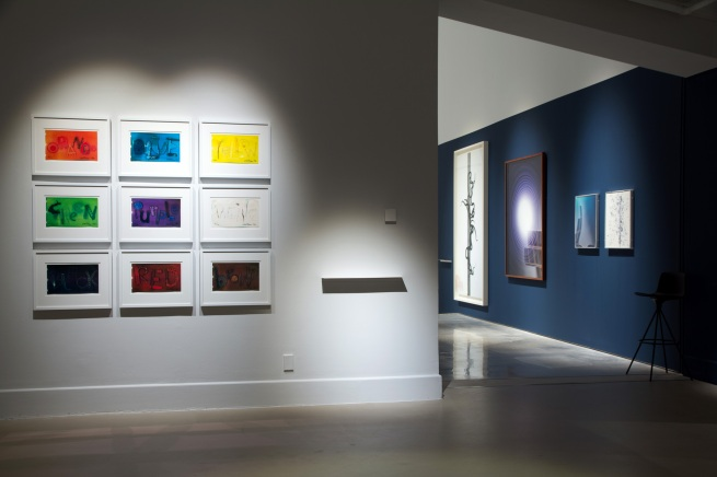 Installation view of Paul Hartigan (New Zealand) 'Colourwords' 1980-81 as part of the exhibition 'Emanations: The Art of the Cameraless Photograph' at the Govett-Brewster Art Gallery