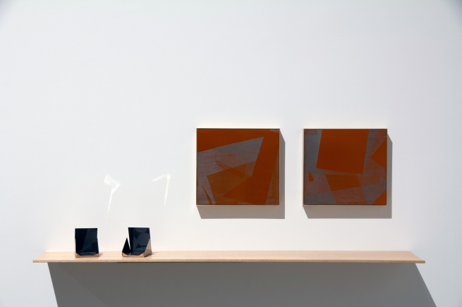 Installation view of Danica Chappell (Australia) 'Slippery Image #1' 2014-15 'Slippery Image #2' 2014-15 and 'Traversing Edges & Corners (Orange #9)' 2014 'Traversing Edges & Corners (Orange #10)' 2014 tintype