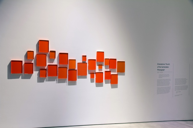 Installation view of Shaun Waugh (New Zealand) 'ΔE2000 1.1' 2014 part of the exhibition of the exhibition 'Emanations: The Art of the Cameraless Photograph' at the Govett-Brewster Art Gallery