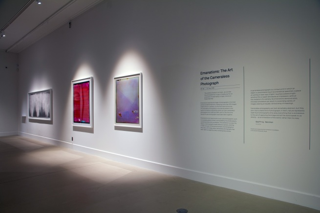 Installation view of the exhibition 'Emanations: The Art of the Cameraless Photograph' at the Govett-Brewster Art Gallery
