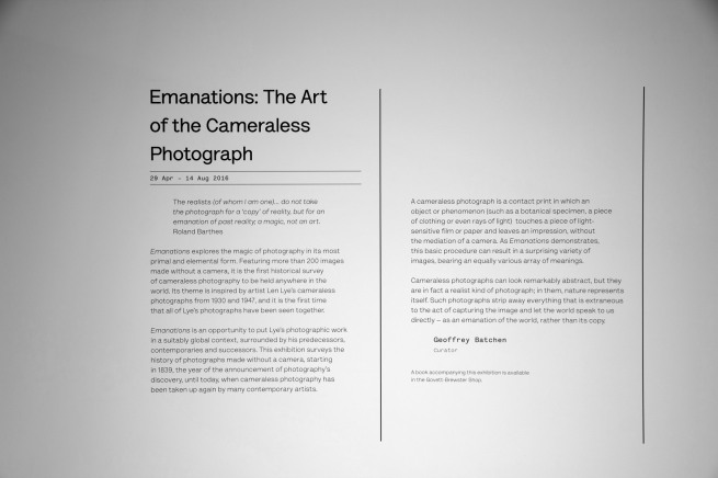 Wall text from the exhibition 'Emanations: The Art of the Cameraless Photograph' at the Govett-Brewster Art Gallery