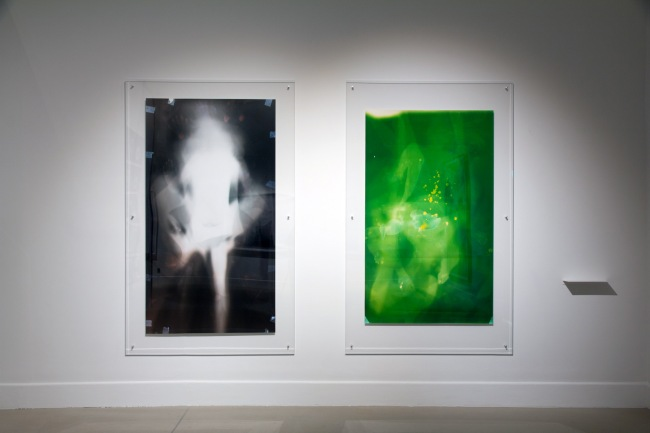 Installation view of Lucinda Eva-May (Australia) 'Unity in light #6' 2012 (left) 'Unity in light #9' 2012 (right)