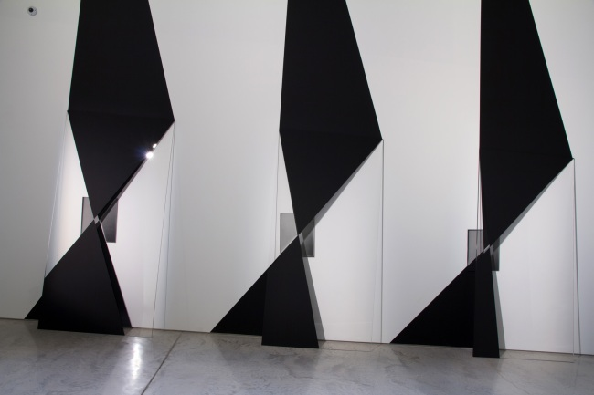 Installation view of Andrew Beck 'Double Screen' 2016 part of the exhibition 'Emanations: The Art of the Cameraless Photograph' at the Govett-Brewster Art Gallery